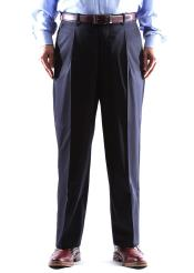 ID#DB17874 100% Wool Navy Dress Pants Single Pleated Pants Gabardine Fabric