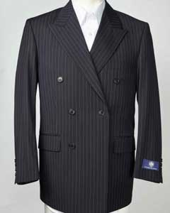 Peak Collared Pinstripe Double