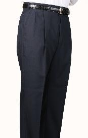ID#UZ3457 45% Worsted Wool fabric Navy SomersetDouble- Pleated creased Slaks / Dress Pants Trouser Harwick Made In USA America
