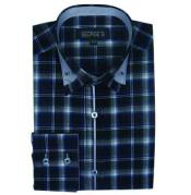 ID#SM498 Navy Long length Sleeve Plaids And Checks Pattern Dress Cheap Fashion Clearance Shirt Sale Online For Men