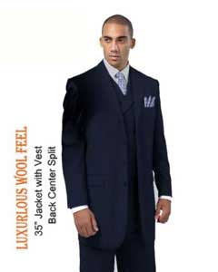ID#RN8283 New Four buttons Style three piece low priced fashion Outfits Suits for Men Luxurious Wool fabric Feel Suit with Double Breasted Vest Navy