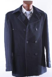 ID#KA1464 DOUBLE BREAST NAVY LUXURY Wool fabric WINTER OVERCOAT
