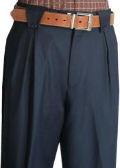 ID#RM1325 Veronesi Flap Style Pocket Navy Wool fabric Wide Leg Pants