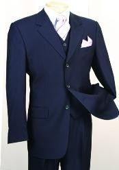 ID#MF1902 Fashion 3 ~ Three Piece suit in Superior fabric 150's Luxurious Wool fabric Feel Navy