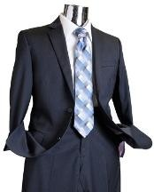 ID#GW5916 Navy Tone on Tone Wool fabric Suit Navy