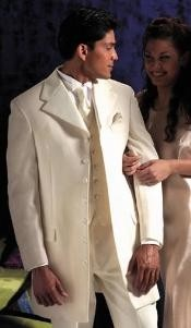 ID#106 Ivory~OFF White~Cream Fashion Tuxedo For Men 35.5\ Length Coat Large Satin Notch Lapels Seven Button