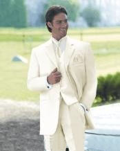 ID# T62T Vittori Collection Cream/Ivory/OFF White Two buttons Vested  3 ~ Three Piece Light Weight Soft Wedding Prom ~ Wedding Groomsmen Tuxedo
