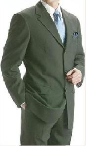 Mens Olive Color Wool Suit