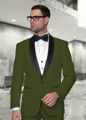 Modern Fit 3 ~ Three Piece Shawl Collar Olive Vested Cheap Discounted Suit Prom ~ Wedding Groomsmen Tuxedo Dark Green