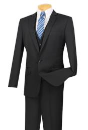 ID#AC-220 Three Piece One Button Slim Fit Dark color black Suit