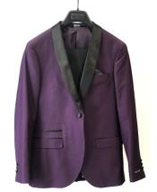 ID#DB24800 1 Button  Shawl Lapel Purple Blazer