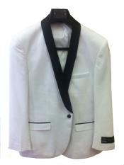 ID#7Z3C One Button Slim Fit tux coats White with Dark color black Collared Tuxedo / Graduation Homecoming Outfits dinner Jacket Shawl collar Best Cheap Blazer ~ Suit Jacket For Men Affordable Sport Coats Sale
