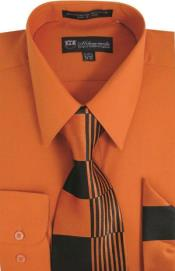 ID#SW912 Milano Moda Classic Cotton Dress Cheap Fashion Clearance Shirt Sale Online For Men with Ties and Handkerchiefs Orange