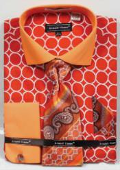 ID#MK813 Avanti Uomo Printed Pattern French Cuff Dress Cheap Fashion Clearance Shirt Sale Online For Men Orange