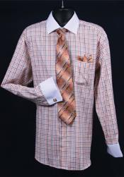 Big and Tall  Large 18 19 20 21 22 Inch Neck Man ~ Plus Size Suits Daniel Ellissa French Cuff Orange Full Dress Shirt with Tie, Hanky and Cuff Links