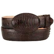 ID#SW992 Original Ostrich Leg Skin Western Style Hand Crafted Belt Coco Chocolate brown