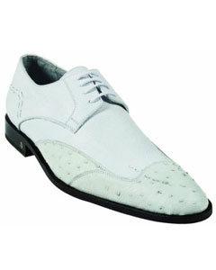 ID#MK927 Ostrich Full Quill Skin White Dress Cheap Priced Exotic Skin Shoes For Sale For Men
