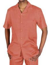 Short Sleeve Peach Linen