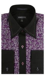 ID#RM1091 Two Toned Lay Down Collar Basic Solid Plain Accents Microfiber Regular Fit Pink Dress Cheap Fashion Clearance Groomsmen Shirts Sale Online For Men Purple and Dark black