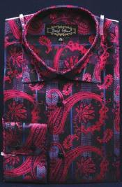 ID#AC-468 Fancy Man Made Fiber Dress Cheap Fashion Clearance Shirt Sale Online For Men With Button Cuff Collar Fuschia