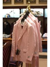 Mens Pink Striped Linen Suit