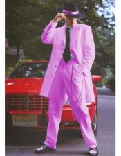ID#DB15996 Light Pink Front Button Closure Notch Collar Side Vent Long Zoot Suit