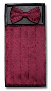 ID#DB17177 Polyester Burgundy Paisley Design Bowtie & Matching Cummerbund