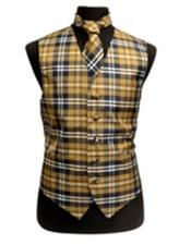 ID#VJ16407 Navy/White/Brown Polyester Plaid Design Groomsmen Vest ~ Waistcoat ~ Waist coat/Bow Groomsmen Ties Slim Fit Fashion Set