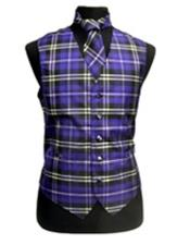 White Purple Polyester Plaid