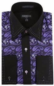 ID#RM1086 Purple pastel color/Dark color black Microfiber Design Paisley Regular Fit Dress Cheap Fashion Clearance Shirt Sale Online For Men