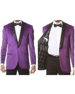 ID#PN_I21 Velvet Shawl Collar Dinner Smoking Velour Jacket Notch Lapel, Slim Fit Purple pastel color