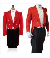 men's 3 Piece Prom/Black Formal Wedding Prom ~ Wedding Groomsmen Tail - Red Tuxedo