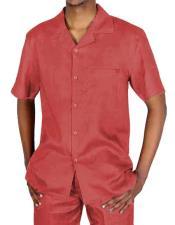 Red Short Sleeve Linen