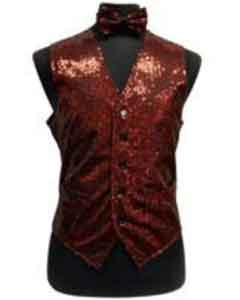 ID#AP24K Satin Shiny Sequin Glitter Groomsmen Wedding Vest ~ Waistcoat ~ Waist coat For Groom and Groomsmen/bow Groomsmen Ties Combo red pastel color