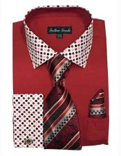 ID#NM14322 Men's Dot Pattern Red Dress Fashion Shirt Online Sale Cheap Fashion Clearance Groomsmen Shirts Sale Online For Men Cotton Blend Solid/Polka With Matching Tie & Hanky