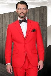 ID#KA7723 Red Prom pastel color Man Made Fiber~Rayon Fabric Modern Cut Pleated Pants Classic Fit Two buttons Suit