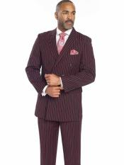ID#NM882 Men's Bold Chalk Stripe ~  Black & Red Pleated Pants Gangster 1920s Mens Fashion Pinstripe Suit