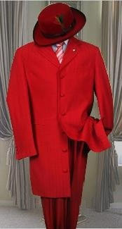 ID# LT32 Metalic Hot Red Prom pastel color Fashion Dress Zoot Suit 38 Inch Long length