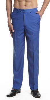 ID#AA468 Dress Pants Trousers Flat Front Slacks Royal Light Blue Perfect for wedding