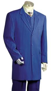 WTX-Zoot200 Men's Royal Blue And Bold White Stripe Gangster Zoot Dress Suits For Men Vested 3 Piece