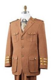 ID#AA445 Safari Rust Nailshead Military Pocket Suit