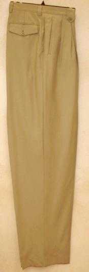 Long length rise big leg slacks greenish color with some hint of gray Taupe Wide Leg Dress Pants Pleated creased baggy dress trousers