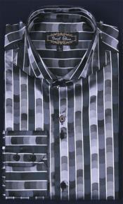 ID#KA6465 Shiny flashy Satin Fancy Luxurious Cheap Fashion Clearance Shirt Sale Online For Men -Dark color black