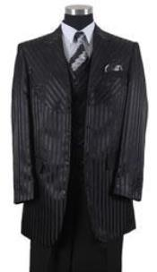 ID#AP47K tone on tone Shiny Sharkskin Shadow Stripe ~ Pinstripe Vested 3 ~ Three Piece Suits for Men