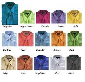 ID#PN96 Classic Satin Dress Cheap Fashion Clearance Shirt Sale Online For Men Combo w/ tie And Handkerchief Multi-color