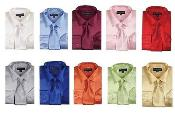 ID#PN_S51 Fashion Shiny Satin Dress Cheap Fashion Clearance Shirt Sale Online For Men Combo w/ Tie And Handkerchief Multi-color