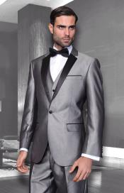 ID#PN19 Unique Bright Colorful Vested 3 ~ Three Piece Dark Black and Silver Suit Prom ~ Groomsmen Grey Tuxedo Suits