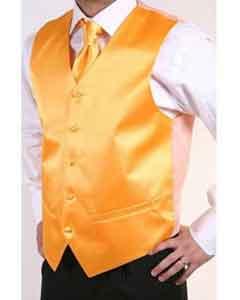 ID#BX6599 Orange 2-piece Groomsmen Wedding Vest ~ Waistcoat ~ Waist coat For Groom and Groomsmen Combo Groomsmen Ties
