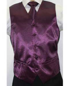 ID#JX7822 (Buy 10 of same color Vest For $25 Each) Shiny Dark Purple pastel color Microfiber 3-piece Groomsmen Vest ~ Waistcoat ~ Waist coat