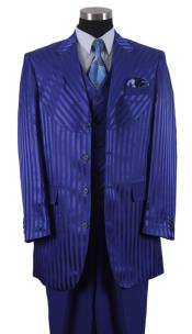 ID#AP44K tone on tone Shiny Sharkskin Shadow Stripe ~ Pinstripe Vested 3 ~ Three Piece Suits for Men